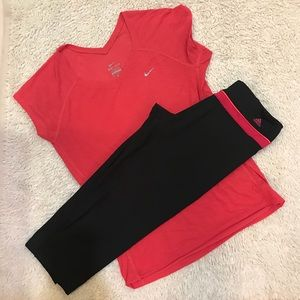 Workout bundle adidas Capri/ Nike dry fit top med